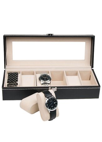 Watch Cases . 6 Slots Leather Watch Storage Box Display Organizers -