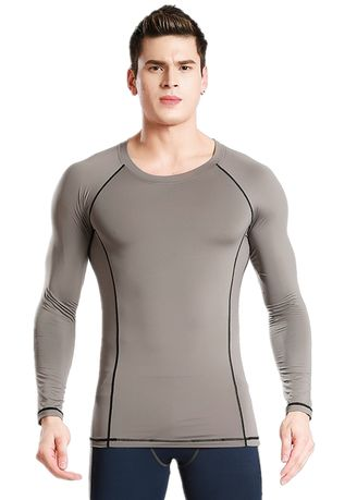 Grey color Sports Wear . Men's Fitness Outdoor Sports Long Sleeve Top -