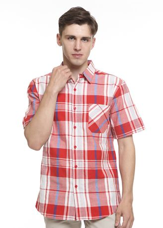 Red color Casual Shirts .  2nd Red Kemeja Pria Tangan Pendek S/S Men Shirt Slim Fit Mx1909 -