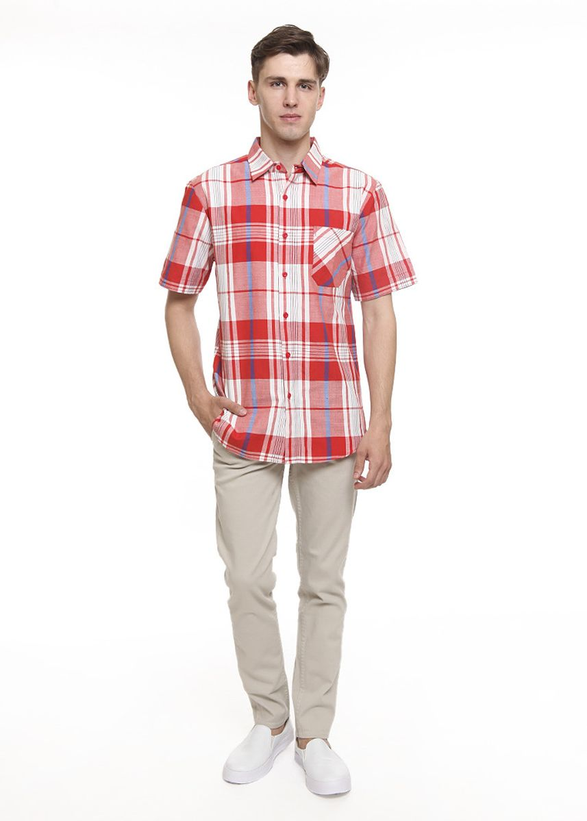 Merah color Kemeja Kasual .  2nd Red Kemeja Pria Tangan Pendek S/S Men Shirt Slim Fit Mx1909 -