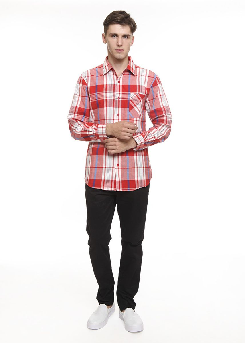 Merah color Kemeja Kasual .  2nd Red Kemeja Pria Tangan Panjang L/S Men Shirt Slim Fit Mx1913 -