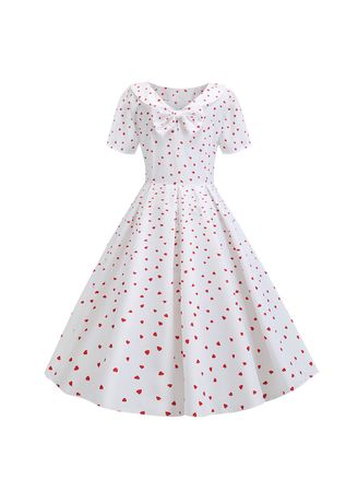 White color Dresses . Doll Collars Fashion Printing Floral Dress -