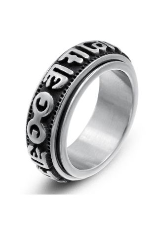 เงิน color แหวน . Creative Can Turn Men's Stainless Steel Ring -