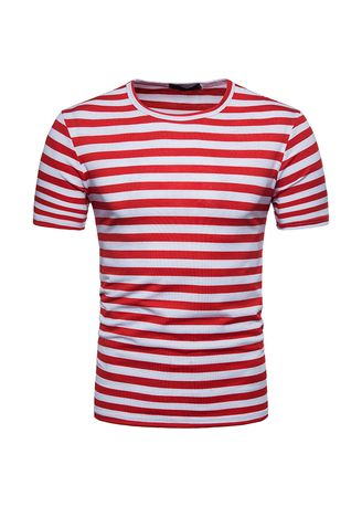 Red color T-Shirts and Polos . Men's Summer Stripe Beach Holiday Short Sleeve T-Shirt  -