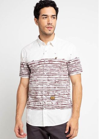 White color Casual Shirts . EMBA JEANS-Jonas Gold Men's Shirt in White -