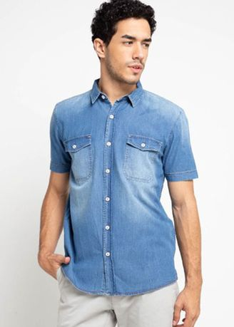 Blue color Casual Shirts . EMBA JEANS-Arka Mens' Shirt in Heavy stone muda -