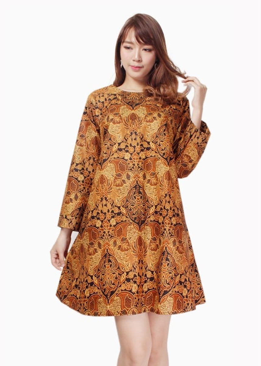 Cokelat color Terusan/Dress . Miracle Shop Atasan Tunik Batik Aghnia Dress Midi Wanita -
