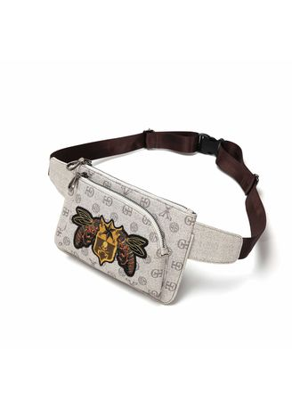 Grey color Messenger Bags . Men's Embroidery Pattern Chest Bag PU Leather Waist Bag -