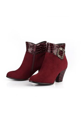 Red color Boots . Serpentine  Thick-heeled Boots -