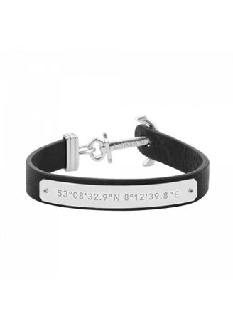 Black color Bracelets . Anchor Bracelet Signum Collection Stainless Steel Black -