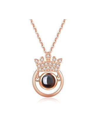 Gold color  . Crystalline Silver Projection Pendant Necklace-An crown -