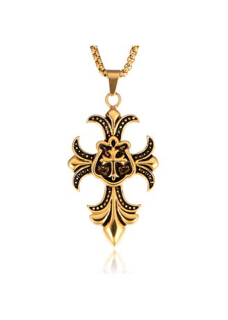 ทอง color สร้อยคอ . Popular Titanium Steel Men's Cross Flower Pendant -