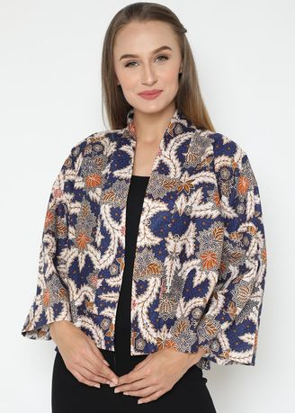 Biru color Atasan & Tunik . WINGGO Dahayu Outer Batik - Blue -