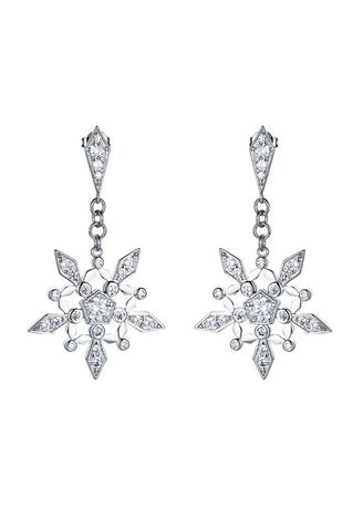 Silver color  . Women's Long Fashion White Gold-plated Stud Earrings -
