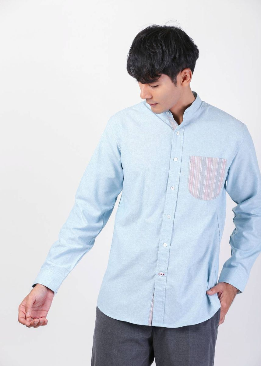 Green color Casual Shirts . Quattro -  Turquoise Stripe Pocket -