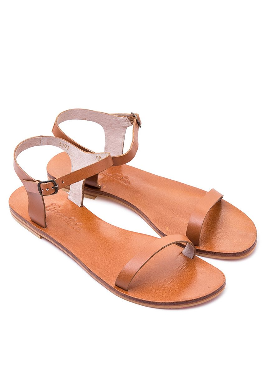 Tan color Flats . Carmelletes Leather Sandals -