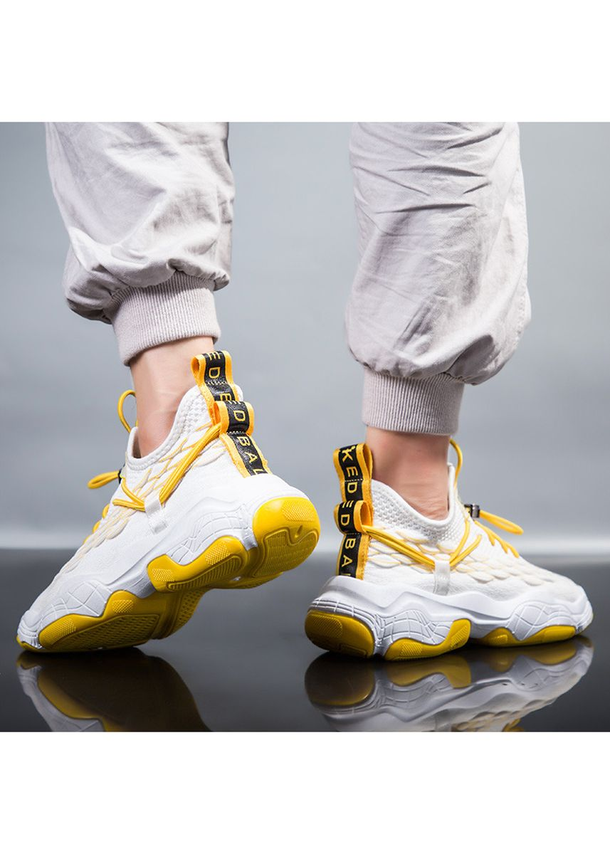 Yellow color Sports Shoes . Men's Trainers With Flying Weave Breathable Mesh Upper Cover and Coconut Shoes -