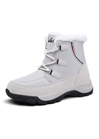 White color Boots . Women's Fur Lined Winter Warm High-top Outdoor Snow Boots -