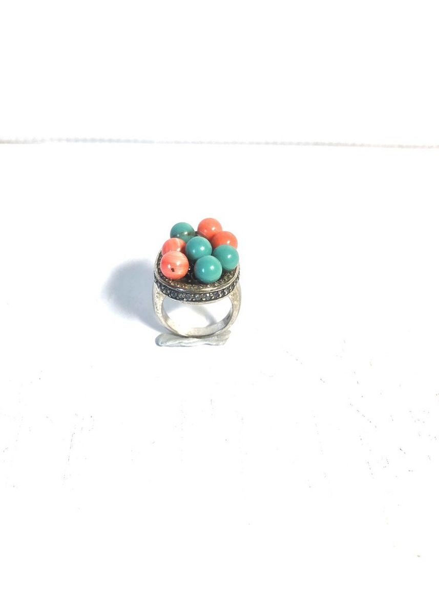 Multi color  . Silver 925 Coral+Turquoise ring -