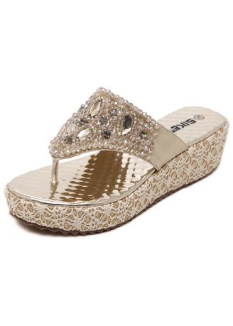 Gold color Sandals and Slippers . Women Boho Crystal Rhinestone Wedges Slippers -