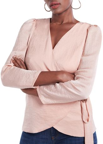 Beige color Tops and Tunics . Twist Front Longsleeves Top -