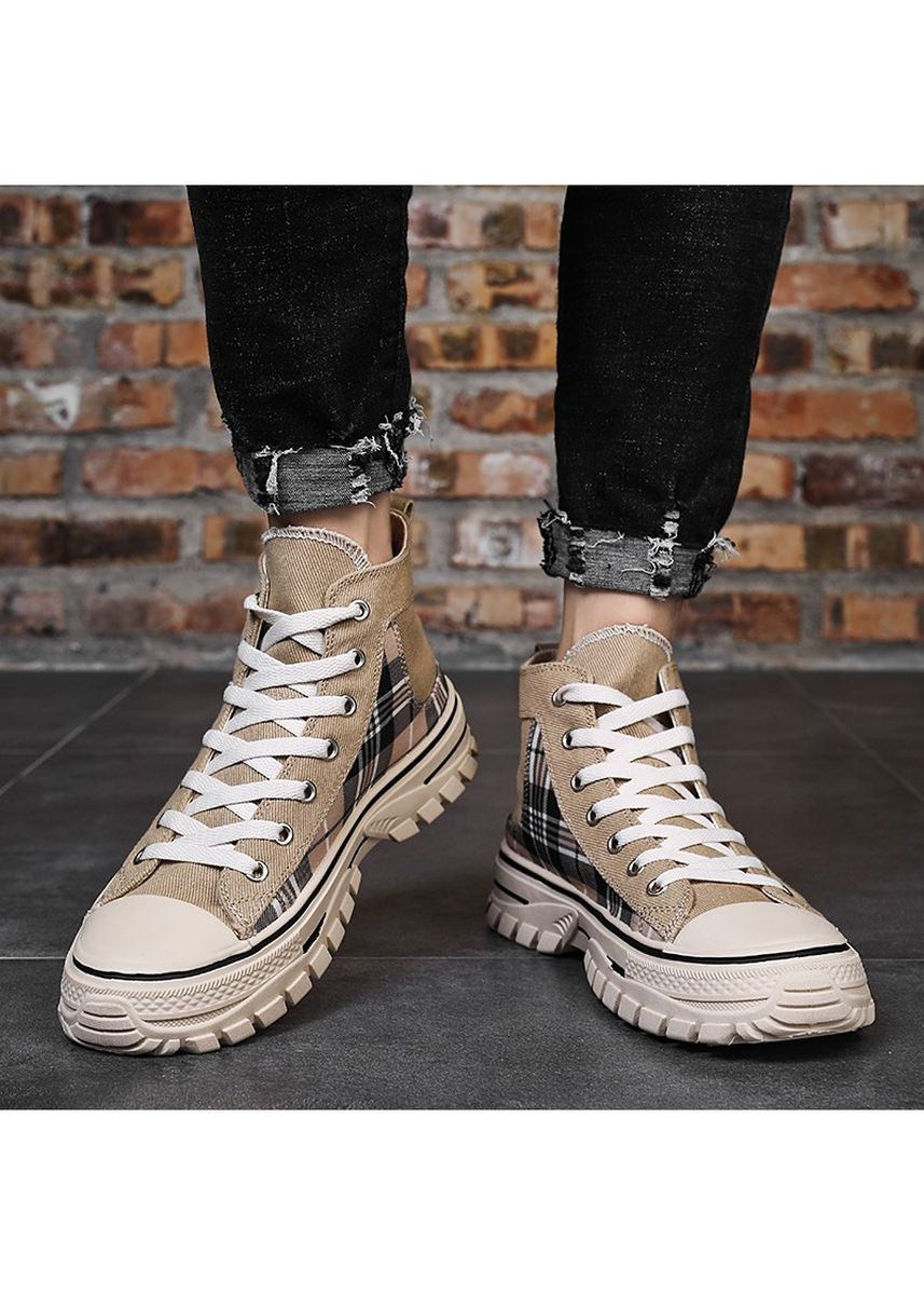 Tan color Sports Shoes . Heavy-soled Plaid Canvas With High Tops Shoes -