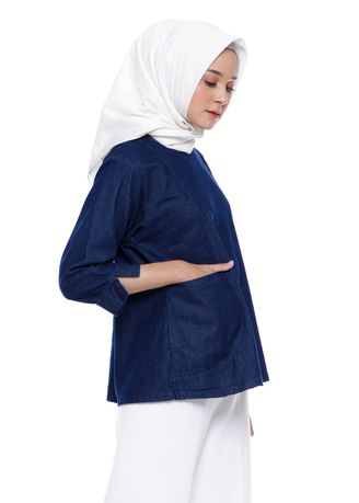 Biru Dongker color Atasan . kammaniya - Maghali Pocket Tops Navy -