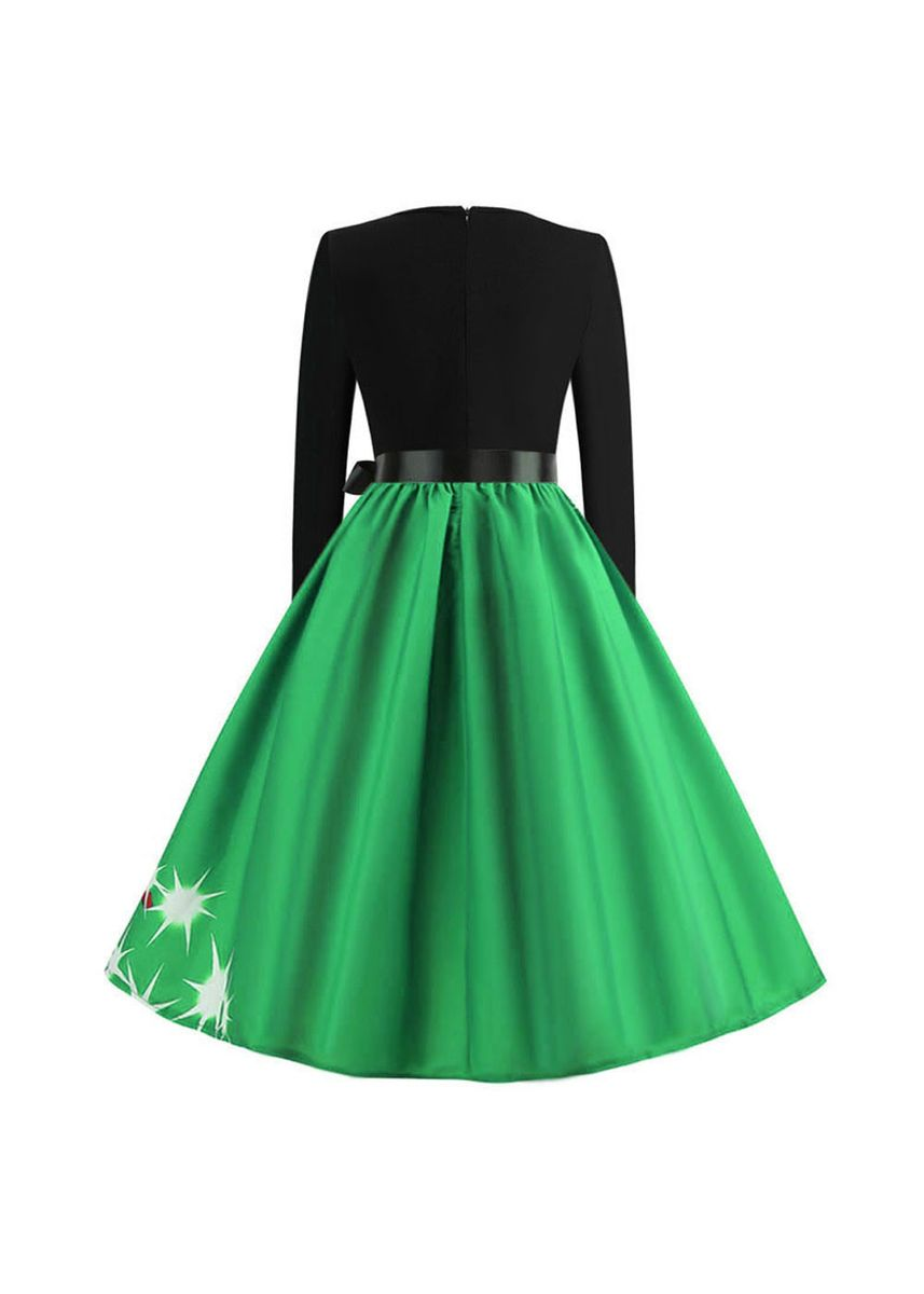 Green color Dresses . Fashion Christmas Print Long Sleeve Dress -