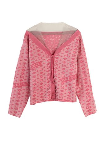 Pink color Jackets . Yarn Mesh Loose Embroidered Knitted Cardigan -