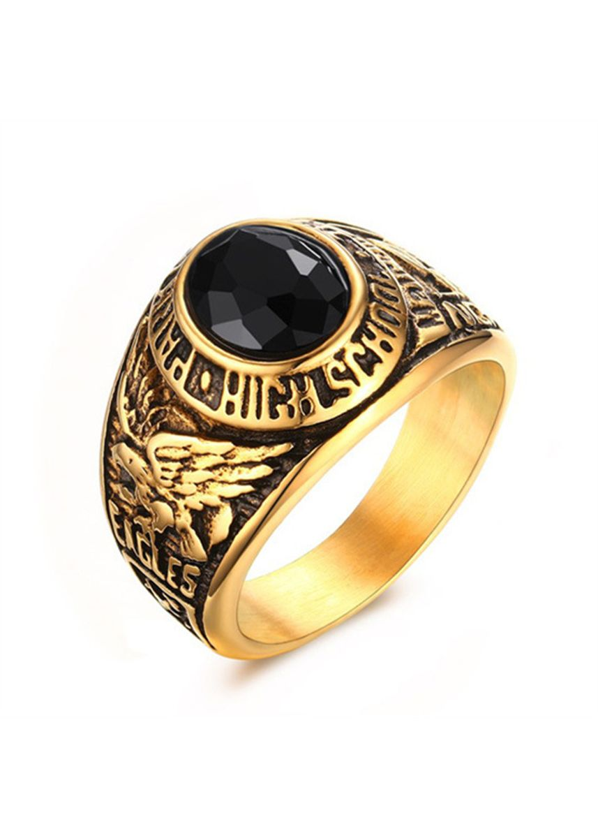 Gold color Rings . Gold 17MM Stainless Steel Black Gemstone Ring -