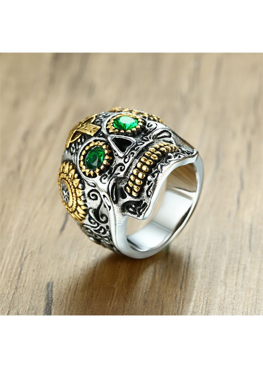 Silver color Rings . Retro Domineering Skull Green Eye Ring -