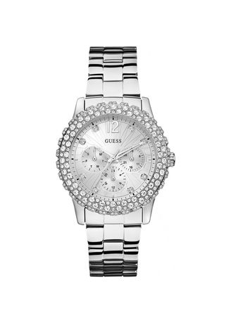 Silver color Analog . GUESS นาฬิกาข้อมือผู้หญิง Dazzler Silver Tone Stainless Steel Bracelet Ladies Watch รุ่น W0335L1 -