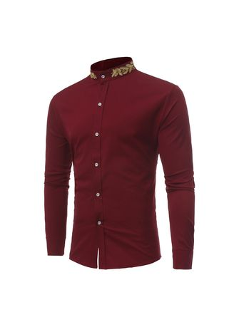 Red color Casual Shirts . Wheat Ear  Embroidery  Collar Shirt -