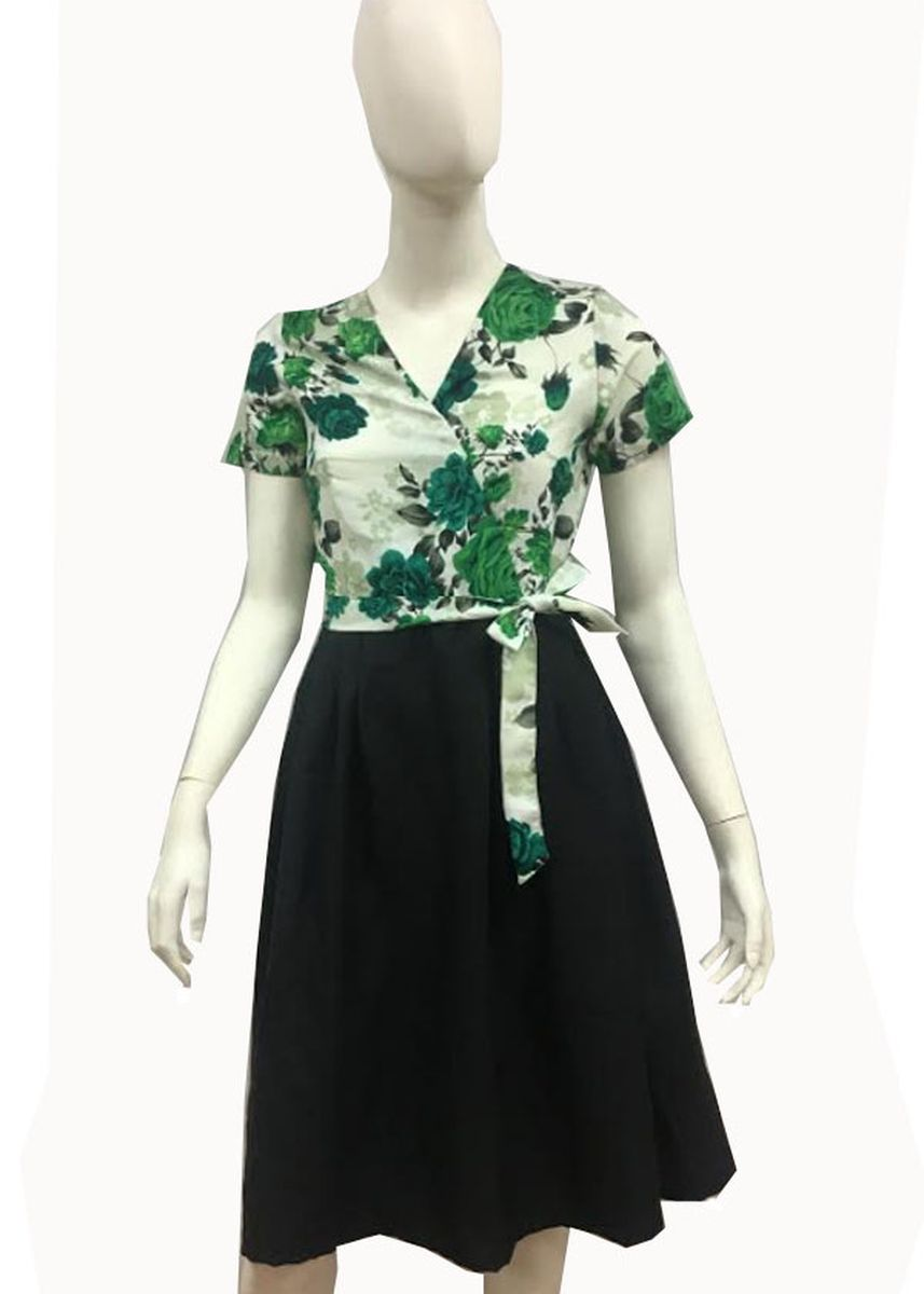 Green color Dresses . Mariel Floral White and Green Wrap Dress -