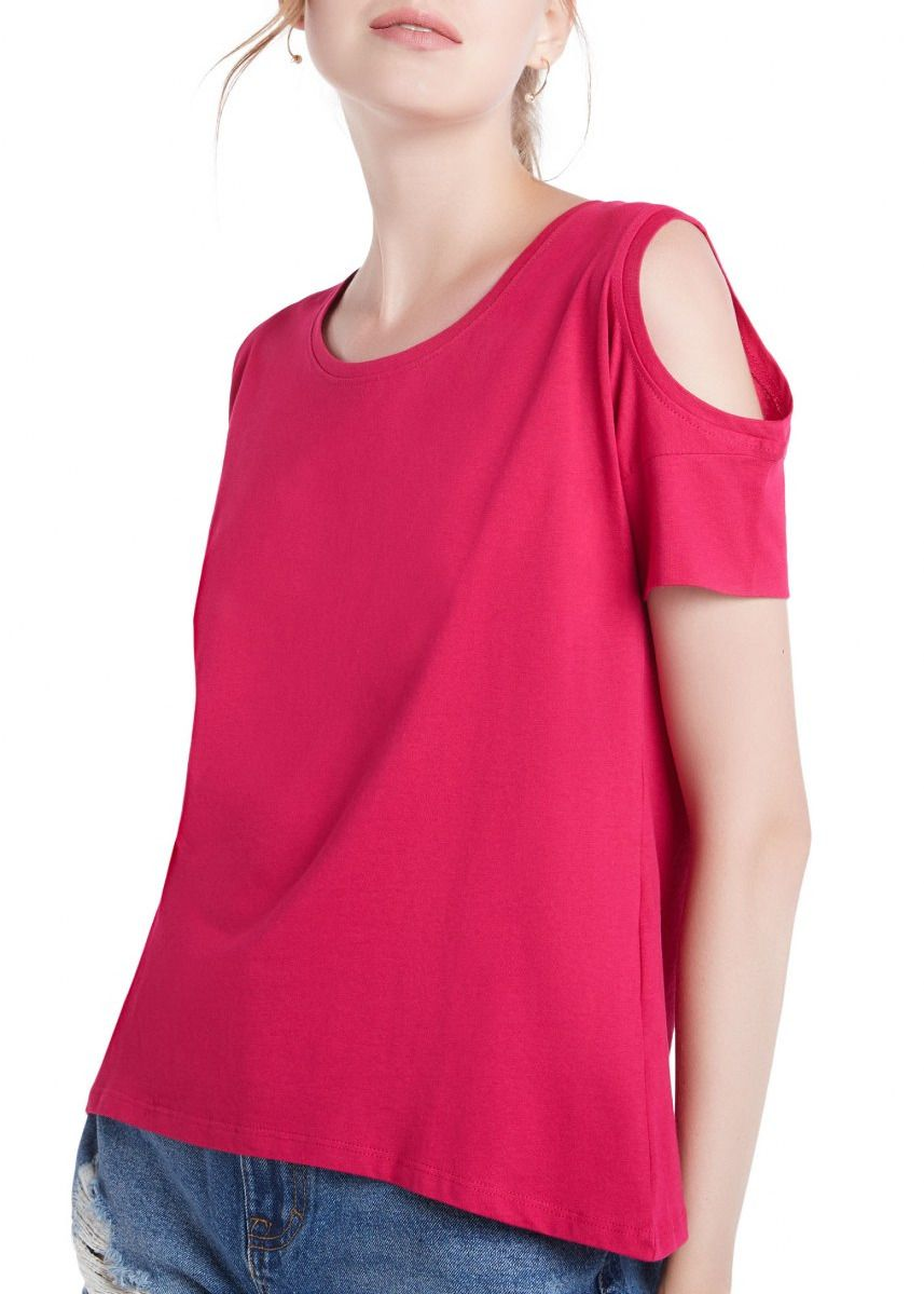 Pink color Tops and Tunics . OVS Key-Hole Shoulder Top -