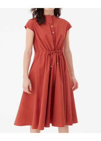 Dresses . OVS Long Dress With Pleats, Collar And Drawstring -