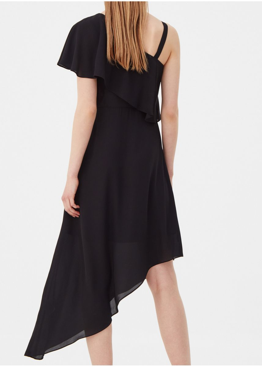 Black color Dresses . OVS Dress With Single Shoulder And Pleated Motif -