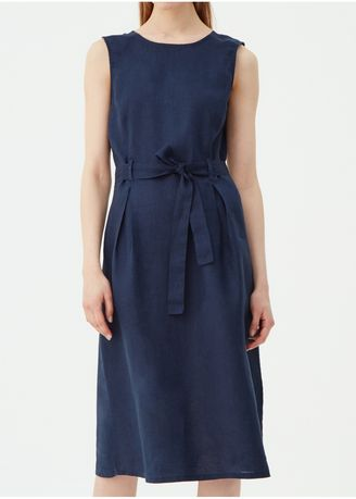 Navy color Dresses . OVS Sleeveless Linen Dress With Belt -