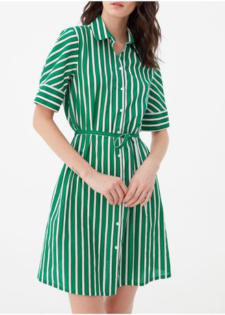 Green color Dresses . OVS Striped Dress With Short Sleeves -