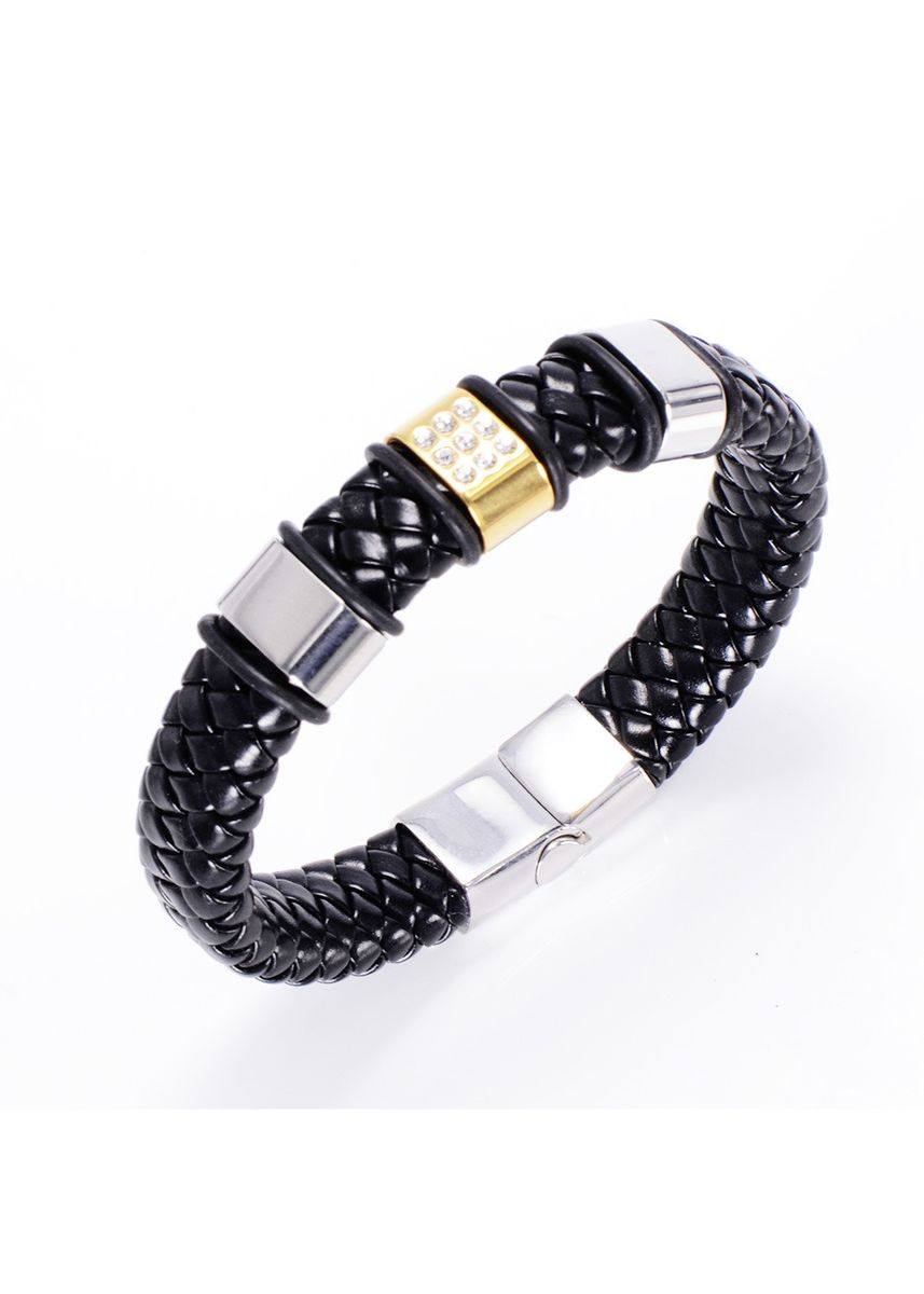 Silver color Bracelets . Trend Retro Titanium Steel Men's Leather Bracelet -
