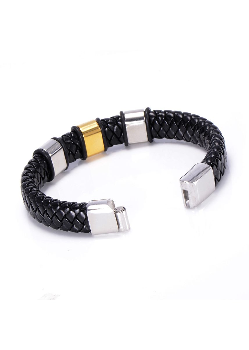 เงิน color สร้อยข้อมือ . Trend Retro Titanium Steel Men's Leather Bracelet -