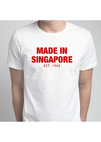 White color T-Shirts and Polos . Made In Singapore T-Shirt -