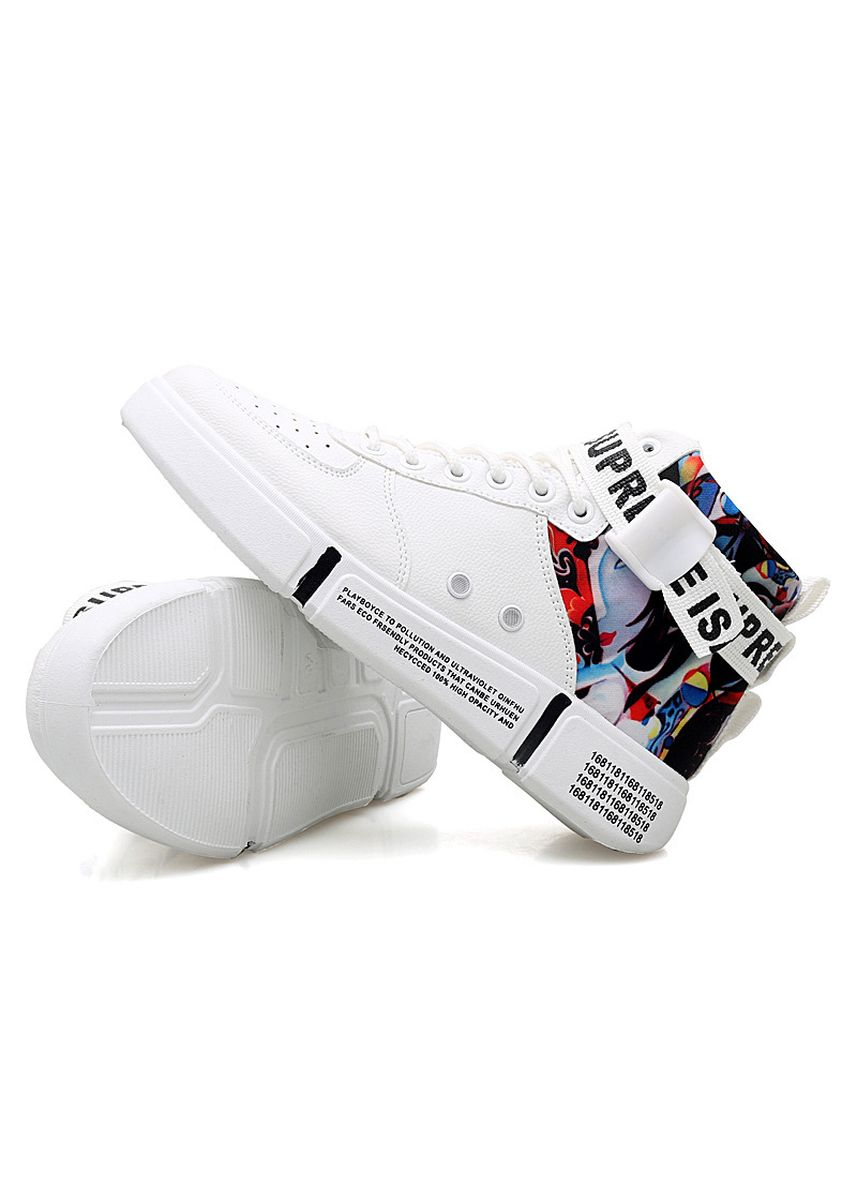 White color Casual Shoes . Fashion Men's PU Breathable Comfortable High-Top Casual Outdoor Shoes -