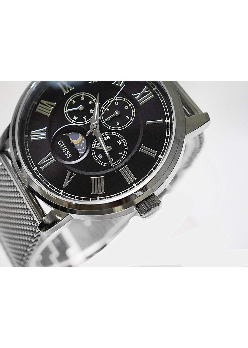 Silver color Analog . GUESS นาฬิกาข้อมือผู้ชาย  Black Dial Silver Tone Stainless Steel Bracelet Chronograph Men Watch W0871G1 -