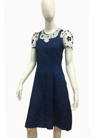 Blue color Dresses . A Line Spaghetti Style Tops and Dress -