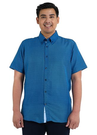 Blue color Casual Shirts . IDENTITY Heritage Series Men's Casual Wear Short Sleeve Button Down Printed Shirt - K1475 -