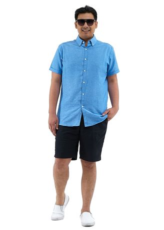 Blue color Casual Shirts . IDENTITY Oxford Series Men's Casual Wear Short Sleeve Denim Shirt -
