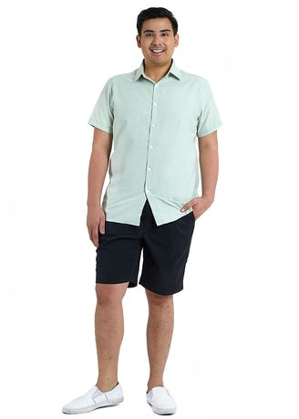 Green color Casual Shirts . IDENTITY Oxford Series Men's Casual Wear Short Sleeve Green Shirt -