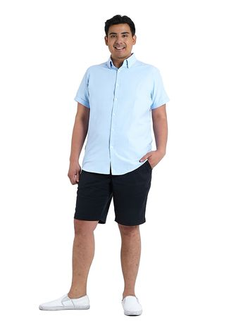 Light Blue color Casual Shirts . IDENTITY Oxford Series Men's Casual Wear Short Sleeve Light Blue Shirt -