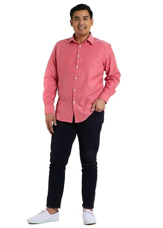 Red color Formal Shirts . IDENTITY Oxford Series Men's Casual Wear Long Sleeve Red Shirt -